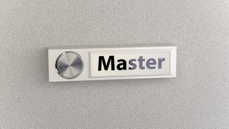 Doorbell on concrete wall with master nameplate. Conceptional image for service, help and support questions