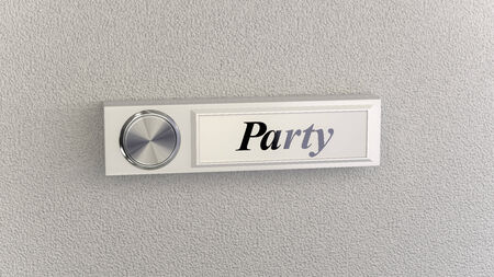 nameplate: Doorbell on concrete wall with party nameplate. Conceptional image for party invitations, stuff and e-commerce