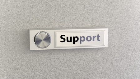 guest house: Doorbell on concrete wall with support nameplate. Conceptional image for service, help and support questions Stock Photo