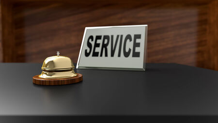 hotel lobby: Service bell on office desk. Conceptual image for assistance and support questions.
