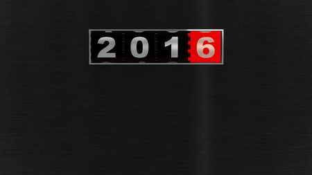 new year counter: 2016 counter on black brushed metal plate. New Year concept illustration. Render image. Stock Photo