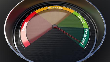 tachometer: Excellence concept with tachometer gauge. Render image