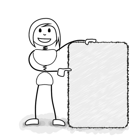 clarify: Stickman promoting with blank information board. Concept image for several business ideas Stock Photo