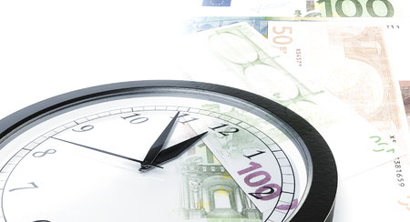 bank notes: Time is money concept with clock and bank notes