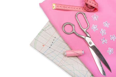 Tailoring. Sewing and needlework. Scissors, centimeter Isolate, Flat Lay, Copy Space