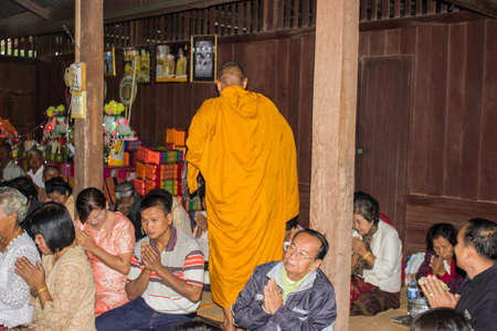 piety: Ubonratchathani,THAILAND Jan 11 :Religious ceremonies and ordination of men to a monk of Thailand Isaan. Editorial