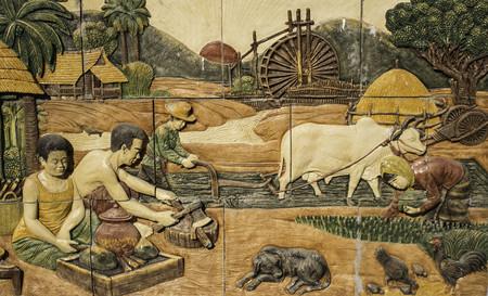 isaan: Ubonratchathani,THAILAND Jan 10-11 :Thailand Thai temple art of Thailand Isaan.