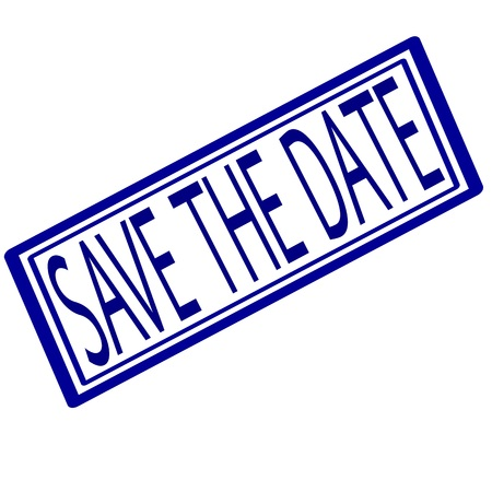date stamp: Save the date blue stamp text on white