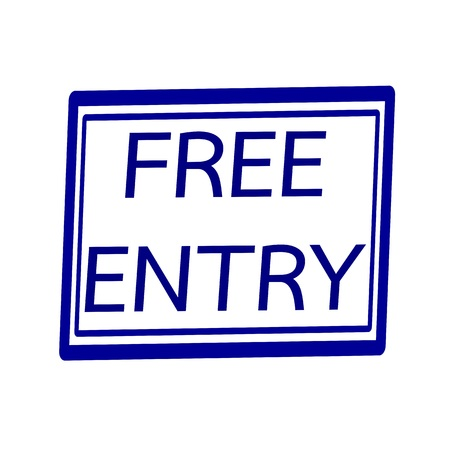 entry: Free entry blue stamp text on white