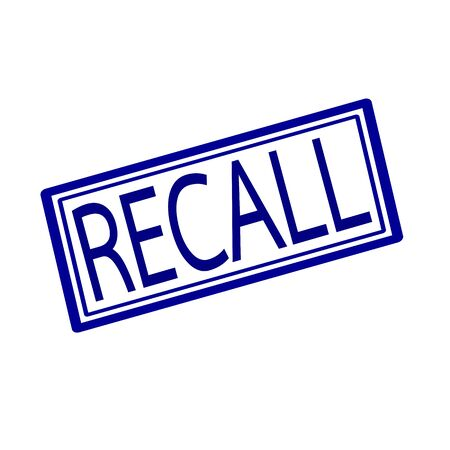 recollection: Recall blue stamp text on white Stock Photo