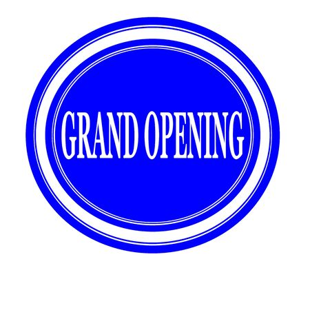 advertised: Grand opening white stamp text on blue Stock Photo