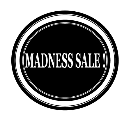 madness: Madness sale white stamp text on black