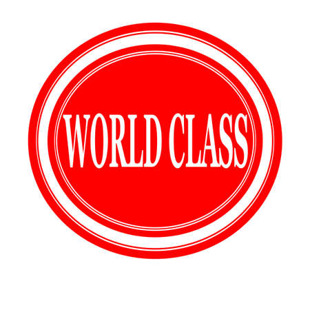 world class: World class white stamp text on red