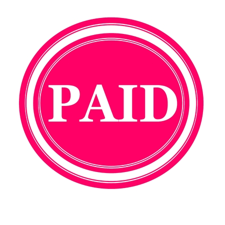 paid: PAID white stamp text on pink