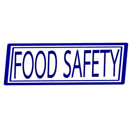 surety: Food safety blue stamp text on white