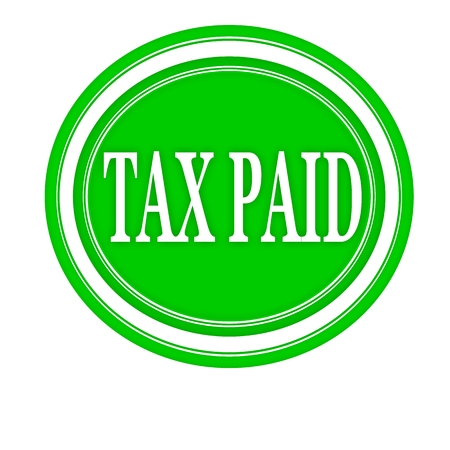 paid: Tax paid white stamp text on green