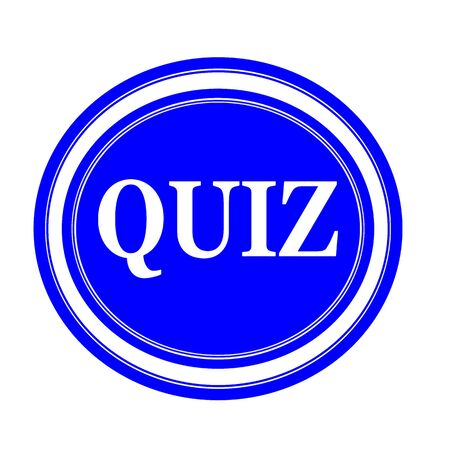 inquest: QUIZ white stamp text on blue
