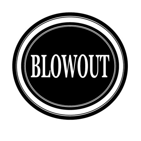 Blowout white stamp text on black photo