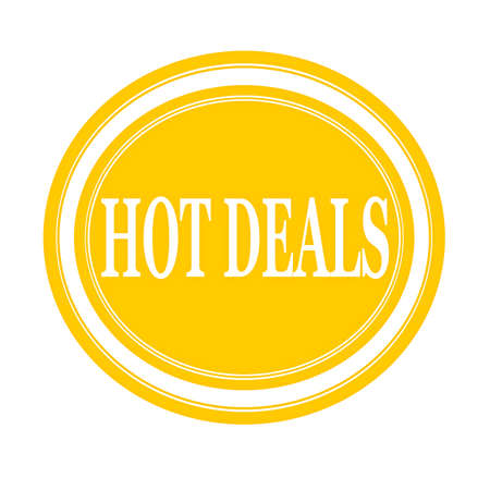 hot deals: Hot deals white stamp text on yellow Stock Photo