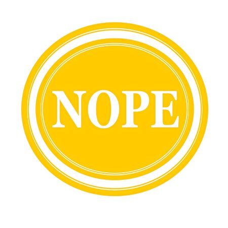 disapproval: Nope white stamp text on yellow Stock Photo