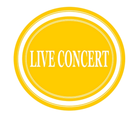 live concert: Live concert white stamp text on yellow