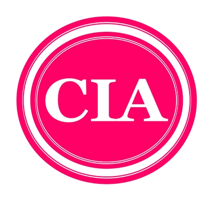 CIA: Cia white stamp text on pink