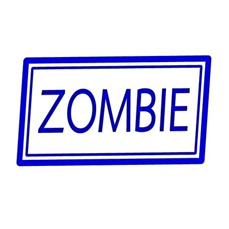 horrific: Zombie blue stamp text on white