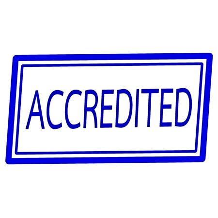 accredited: Accredited blue stamp text on white Stock Photo