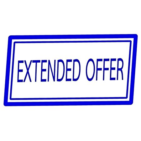 widespread: Extended offer blue stamp text on white