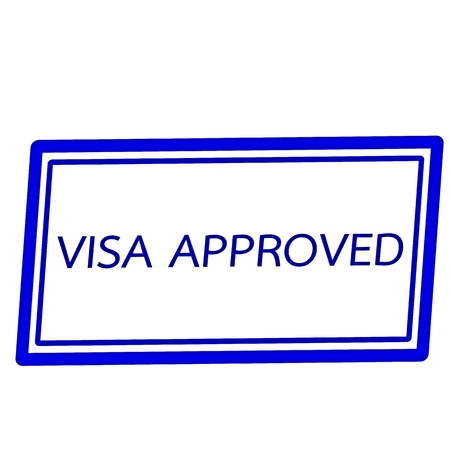 visa approved: Visa approved blue stamp text on white