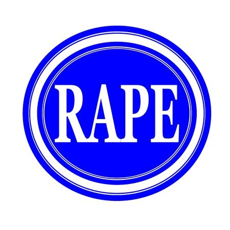 Rape white stamp text on blue Stock Photo