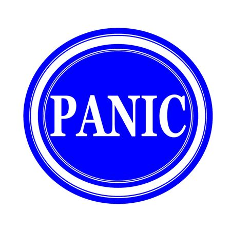 hysterical: Panic white stamp text on blue