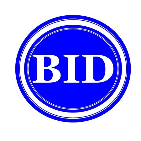 BID white stamp text on blue