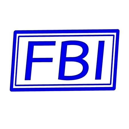 conspire: FBI blue stamp text on white background