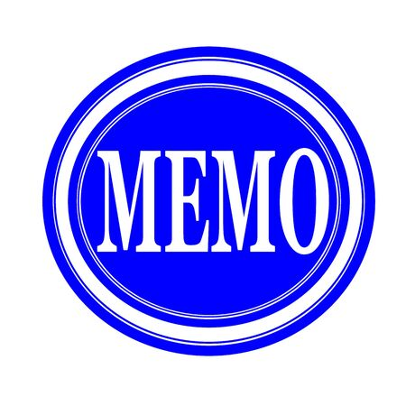 told: Memo white stamp text on blue Stock Photo