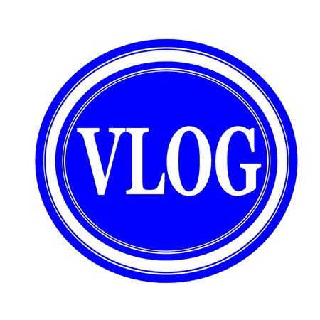 Vlog white stamp text on blue photo