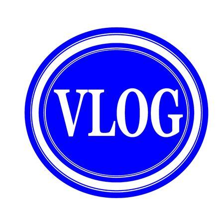 tele: Vlog white stamp text on blue Stock Photo