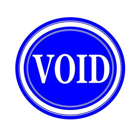 void: Void white stamp text on blue Stock Photo