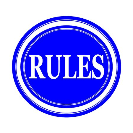 criteria: Rules white stamp text on blue