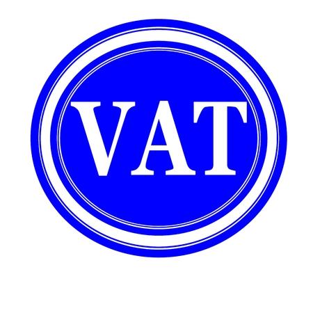 vat: Vat white stamp text on blue