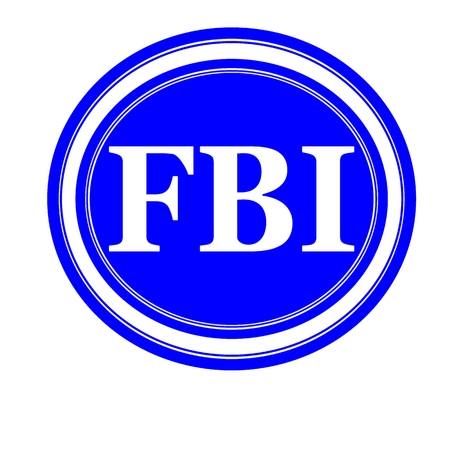 conspire: FBI white stamp text on blue background