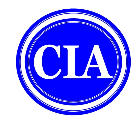 conspire: Cia white stamp text on blue Stock Photo