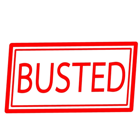 busted: BUSTED red text stamp on white background Stock Photo