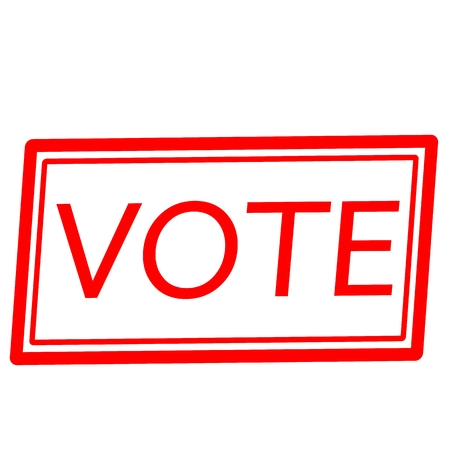 voted: Vote red stamp text on white