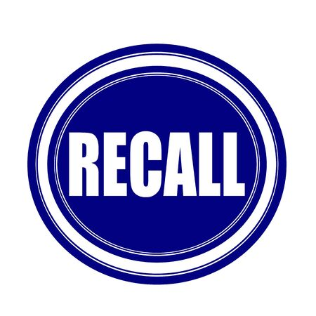 recall: Recall white stamp text on blueblack