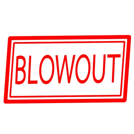 blowout: Blowout red stamp text on white