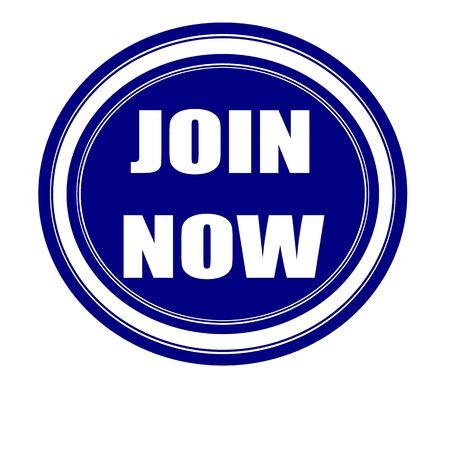 uni: Join now white stamp text on blueblack Stock Photo