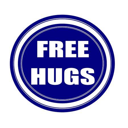 peace stamp: Free hugs white stamp text on blueblack