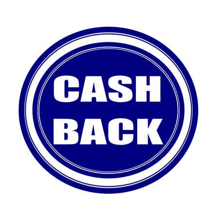 cash back: Cash back white stamp text on blueblack