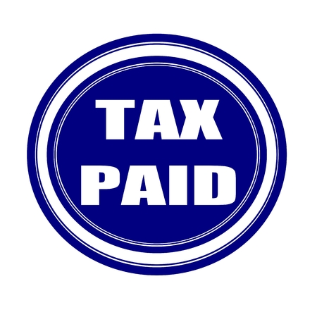 paid: Tax paid white stamp text on blueblack